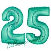Zahl 25, Aquamarin, Luftballons aus Folie zum 25. Geburtstag, 100 cm, inklusive Helium