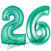 Zahl 26, Aquamarin, Luftballons aus Folie zum 26. Geburtstag, 100 cm, inklusive Helium