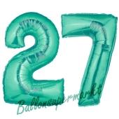 Zahl 27, Aquamarin, Luftballons aus Folie zum 27. Geburtstag, 100 cm, inklusive Helium
