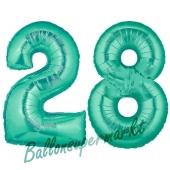 Zahl 28, Aquamarin, Luftballons aus Folie zum 28. Geburtstag, 100 cm, inklusive Helium
