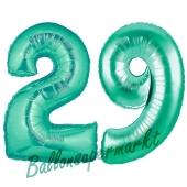 Zahl 29, Aquamarin, Luftballons aus Folie zum 29. Geburtstag, 100 cm, inklusive Helium