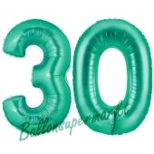 Zahl 30, Aquamarin, Luftballons aus Folie zum 30. Geburtstag, 100 cm, inklusive Helium