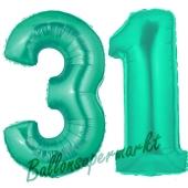 Zahl 31, Aquamarin, Luftballons aus Folie zum 31. Geburtstag, 100 cm, inklusive Helium