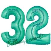 Zahl 32, Aquamarin, Luftballons aus Folie zum 32. Geburtstag, 100 cm, inklusive Helium