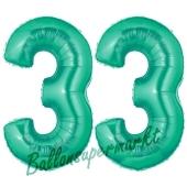 Zahl 33, Aquamarin, Luftballons aus Folie zum 33. Geburtstag, 100 cm, inklusive Helium