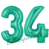 Zahl 34, Aquamarin, Luftballons aus Folie zum 34. Geburtstag, 100 cm, inklusive Helium