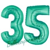 Zahl 35, Aquamarin, Luftballons aus Folie zum 35. Geburtstag, 100 cm, inklusive Helium