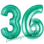 Zahl 36, Aquamarin, Luftballons aus Folie zum 36. Geburtstag, 100 cm, inklusive Helium