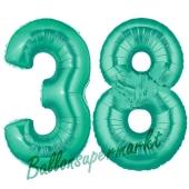 Zahl 38, Aquamarin, Luftballons aus Folie zum 38. Geburtstag, 100 cm, inklusive Helium