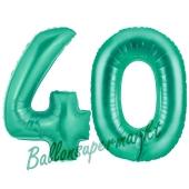 Zahl 40, Aquamarin, Luftballons aus Folie zum 40. Geburtstag