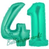 Zahl 41 Aquamarin, Luftballons aus Folie zum 41. Geburtstag, 100 cm, inklusive Helium