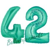 Zahl 42 Aquamarin, Luftballons aus Folie zum 42. Geburtstag, 100 cm, inklusive Helium