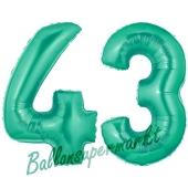 Zahl 43 Aquamarin, Luftballons aus Folie zum 43. Geburtstag, 100 cm, inklusive Helium