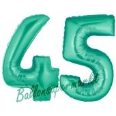 Zahl 45 Aquamarin, Luftballons aus Folie zum 45. Geburtstag, 100 cm, inklusive Helium
