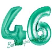 Zahl 46 Aquamarin, Luftballons aus Folie zum 46. Geburtstag, 100 cm, inklusive Helium