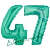 Zahl 47 Aquamarin, Luftballons aus Folie zum 47. Geburtstag, 100 cm, inklusive Helium