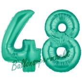 Zahl 48 Aquamarin, Luftballons aus Folie zum 48. Geburtstag, 100 cm, inklusive Helium