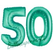 Zahl 50, Aquamarin, Luftballons aus Folie zum 50. Geburtstag