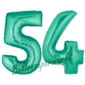 Zahl 54 Aquamarin, Luftballons aus Folie zum 54. Geburtstag, 100 cm, inklusive Helium