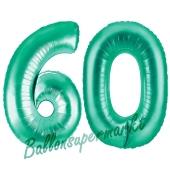 Zahl 60, Aquamarin, Luftballons aus Folie zum 60. Geburtstag
