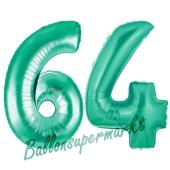 Zahl 64 Aquamarin, Luftballons aus Folie zum 64. Geburtstag, 100 cm, inklusive Helium
