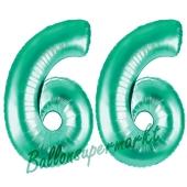 Zahl 66Aquamarin, Luftballons aus Folie zum 66. Geburtstag, 100 cm, inklusive Helium