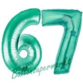 Zahl 67 Aquamarin, Luftballons aus Folie zum 67. Geburtstag, 100 cm, inklusive Helium