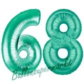 Zahl 68 Aquamarin, Luftballons aus Folie zum 68. Geburtstag, 100 cm, inklusive Helium
