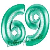FHGE-NG40-aquam-6-+-NG40-aquamZahl 69 Aquamarin, Luftballons aus Folie zum 69. Geburtstag, 100 cm, inklusive Helium9