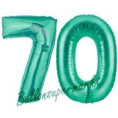 Zahl 70, Aquamarin, Luftballons aus Folie zum 70. Geburtstag