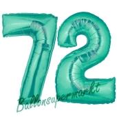 Zahl 72 Aquamarin, Luftballons aus Folie zum 72. Geburtstag, 100 cm, inklusive Helium