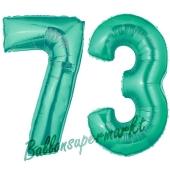 Zahl 73 Aquamarin, Luftballons aus Folie zum 73. Geburtstag, 100 cm, inklusive Helium