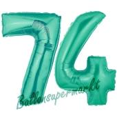 Zahl 74 Aquamarin, Luftballons aus Folie zum 74. Geburtstag, 100 cm, inklusive Helium