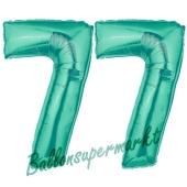 Zahl 77 Aquamarin, Luftballons aus Folie zum 77. Geburtstag, 100 cm, inklusive Helium