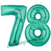 Zahl 78 Aquamarin, Luftballons aus Folie zum 78. Geburtstag, 100 cm, inklusive Helium
