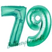 Zahl 79 Aquamarin, Luftballons aus Folie zum 79. Geburtstag, 100 cm, inklusive Helium