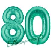 Zahl 80, Aquamarin, Luftballons aus Folie zum 80. Geburtstag
