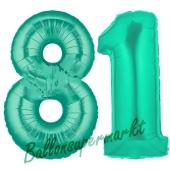 Zahl 81 Aquamarin, Luftballons aus Folie zum 81 . Geburtstag, 100 cm, inklusive Helium