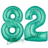 Zahl 82 Aquamarin, Luftballons aus Folie zum 82 . Geburtstag, 100 cm, inklusive Helium