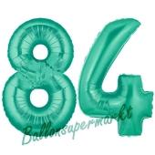 Zahl 84 Aquamarin, Luftballons aus Folie zum 84 . Geburtstag, 100 cm, inklusive Helium