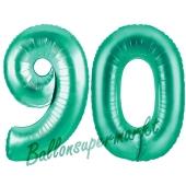Zahl 90, Aquamarin, Luftballons aus Folie zum 90. Geburtstag