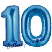 Zahl 10 Blau, Luftballons aus Folie zum 10. Geburtstag, 100 cm, inklusive Helium