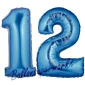 Zahl 12 Blau, Luftballons aus Folie zum 12. Geburtstag, 100 cm, inklusive Helium