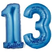 Zahl 13 Blau, Luftballons aus Folie zum 13. Geburtstag, 100 cm, inklusive Helium