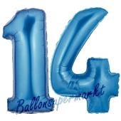 Zahl 14 Blau, Luftballons aus Folie zum 14. Geburtstag, 100 cm, inklusive Helium
