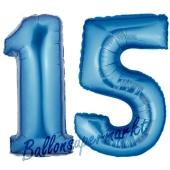 Zahl 15 Blau, Luftballons aus Folie zum 15. Geburtstag, 100 cm, inklusive Helium