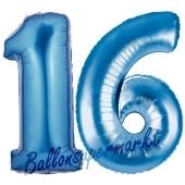 Zahl 16, blau, Luftballons aus Folie zum 16. Geburtstag, 100 cm, inklusive Helium