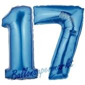 Zahl 17 Blau, Luftballons aus Folie zum 17. Geburtstag, 100 cm, inklusive Helium