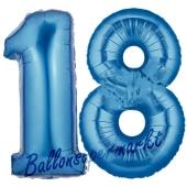 Zahl 18, Blau, Luftballons aus Folie zum 18. Geburtstag, 100 cm, inklusive Helium
