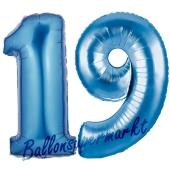 Zahl 19 Blau, Luftballons aus Folie zum 19. Geburtstag, 100 cm, inklusive Helium